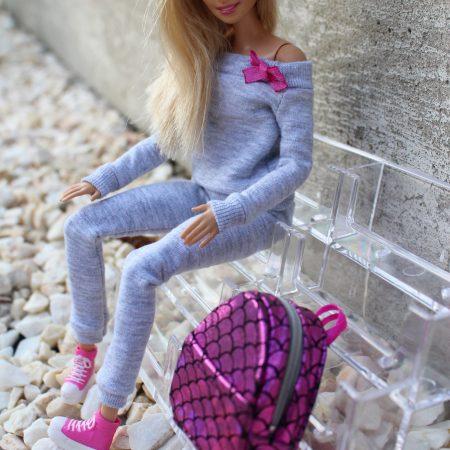 zestaw ubranka i akcesoria dla lalek barbie, szary dres, barbie