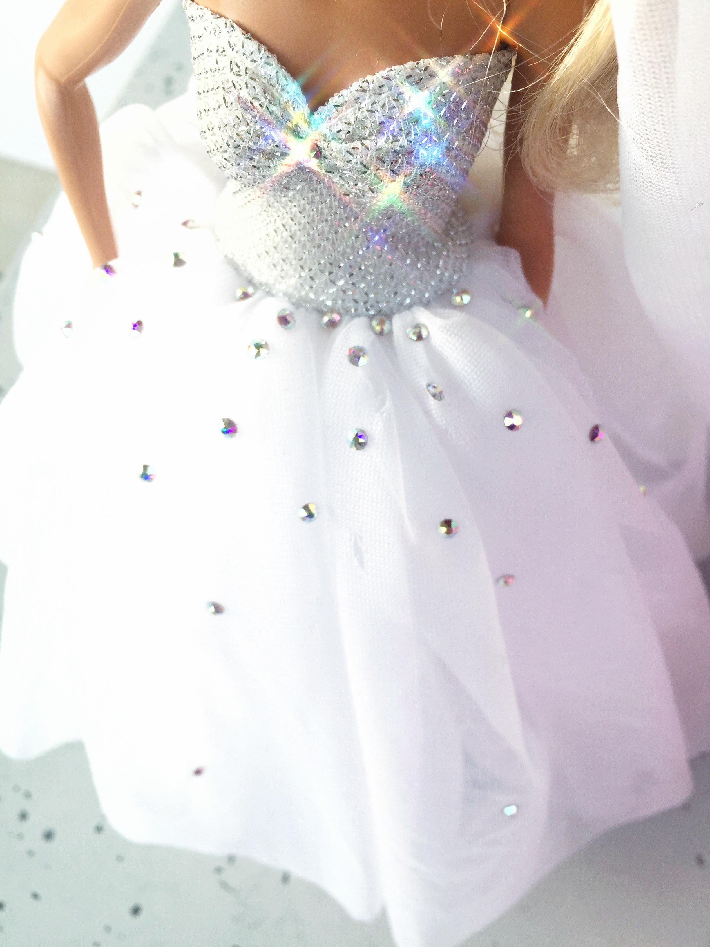Świeże suknia ślubna dla barbie z kryształkami | Dorota Zgodzaj TF08
