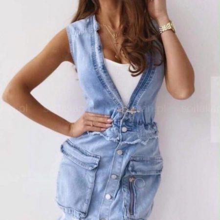 sukienka jeansowa z przetarciami