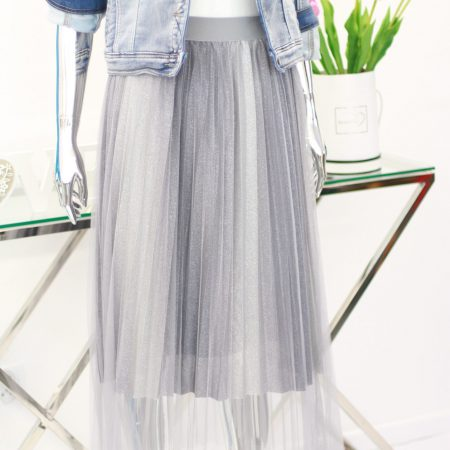 srebrna spódnica plisowana Uni