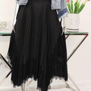 spódnica czarna koronkowa z plisą