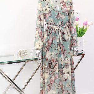 miętowa sukienka szyfonowa maxi