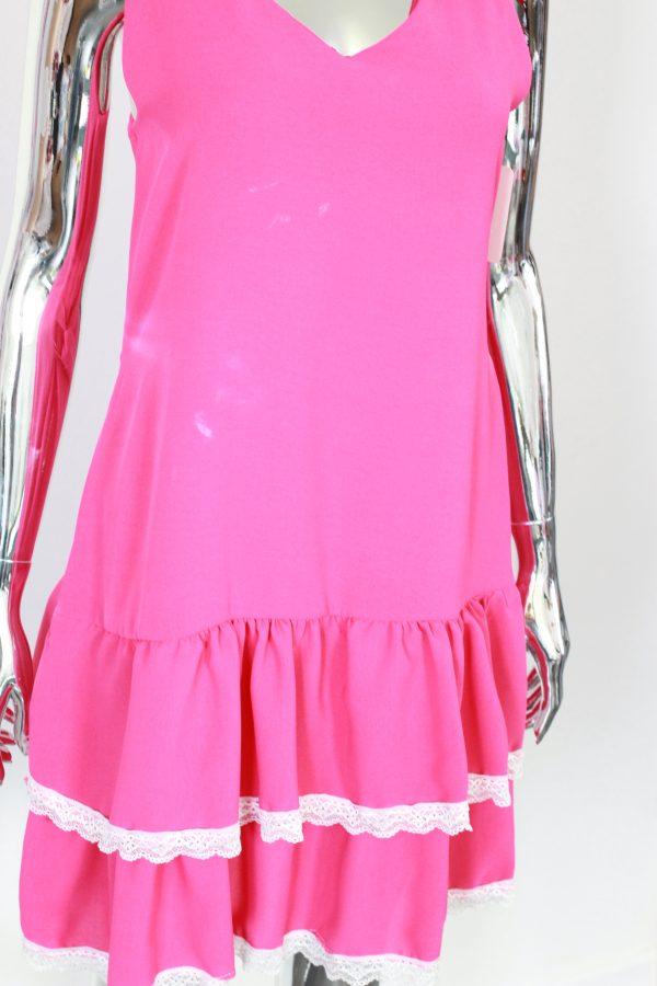 różowa sukienka z falbankami