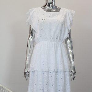 ażurowa sukienka z falbanami