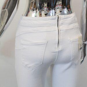 spodnie białe z zamkiem