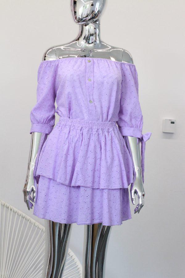 spódniczka i bluzka fioletowa z ażurowej bawełny