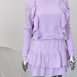 fioletowy zestaw dresowy ze spódniczka z falbankami