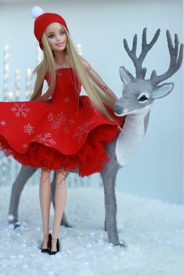 ubranka dla lalki barbie mikołajka na święta na wigilie na mikołaja