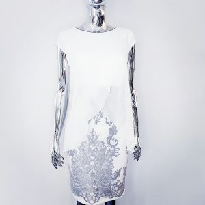 sukienka na komunie biała szara z gipiurą 40