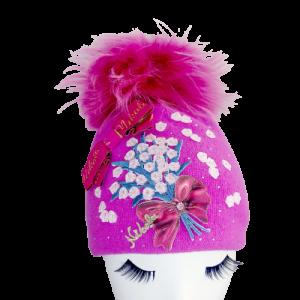 wełniana czapka zimowa dla dziewczynki